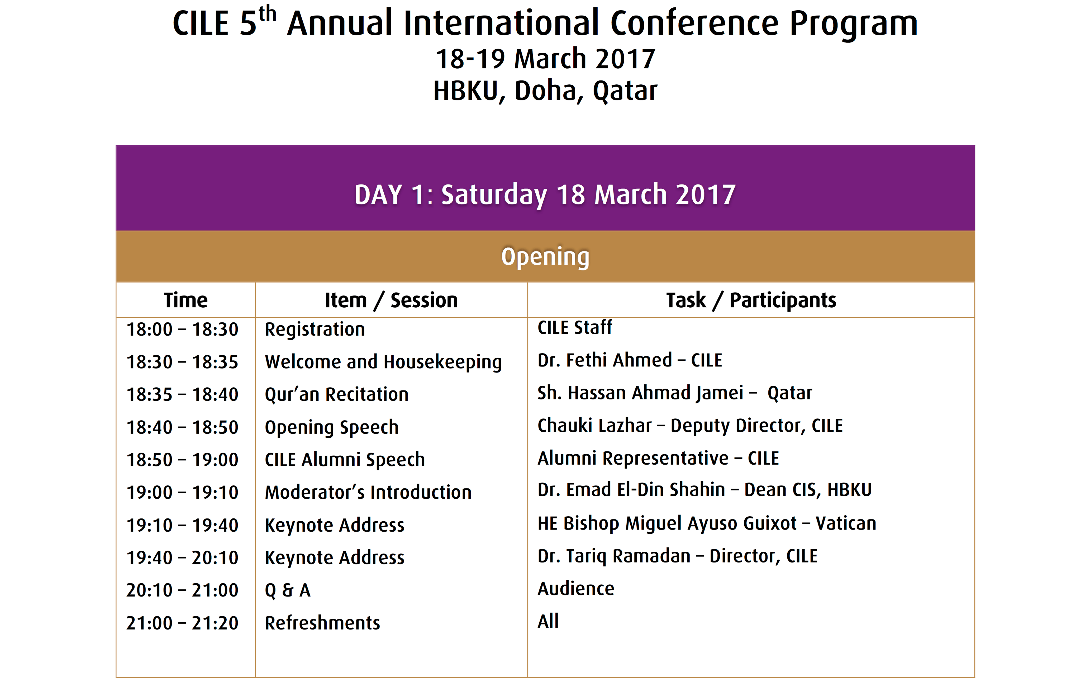 #CILE2017 The Program